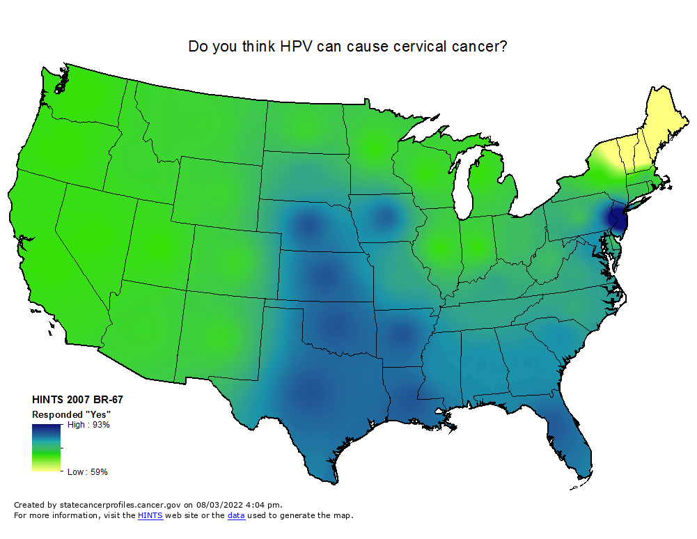 An interpolated map of the U.S. showing a range between high (93%) and low (59%) responses to  'Do you think HPV can cause cervical cancer?'  (HINTS 2007 BR-67 Responded 'Yes').   High values are found in New Jersey.   Middle values are found in the midwest, northeast, south and west.  Lowest values are found in Maine, New Hampshire, Vermont and northeastern most New York.